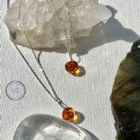 Dark Baltic Amber Nugget Healing Pendant Necklace
